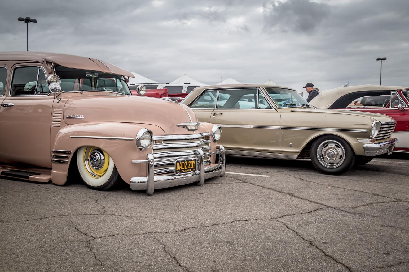Low riding 1948 Chevrolet Suburban at Long Beach swap meet