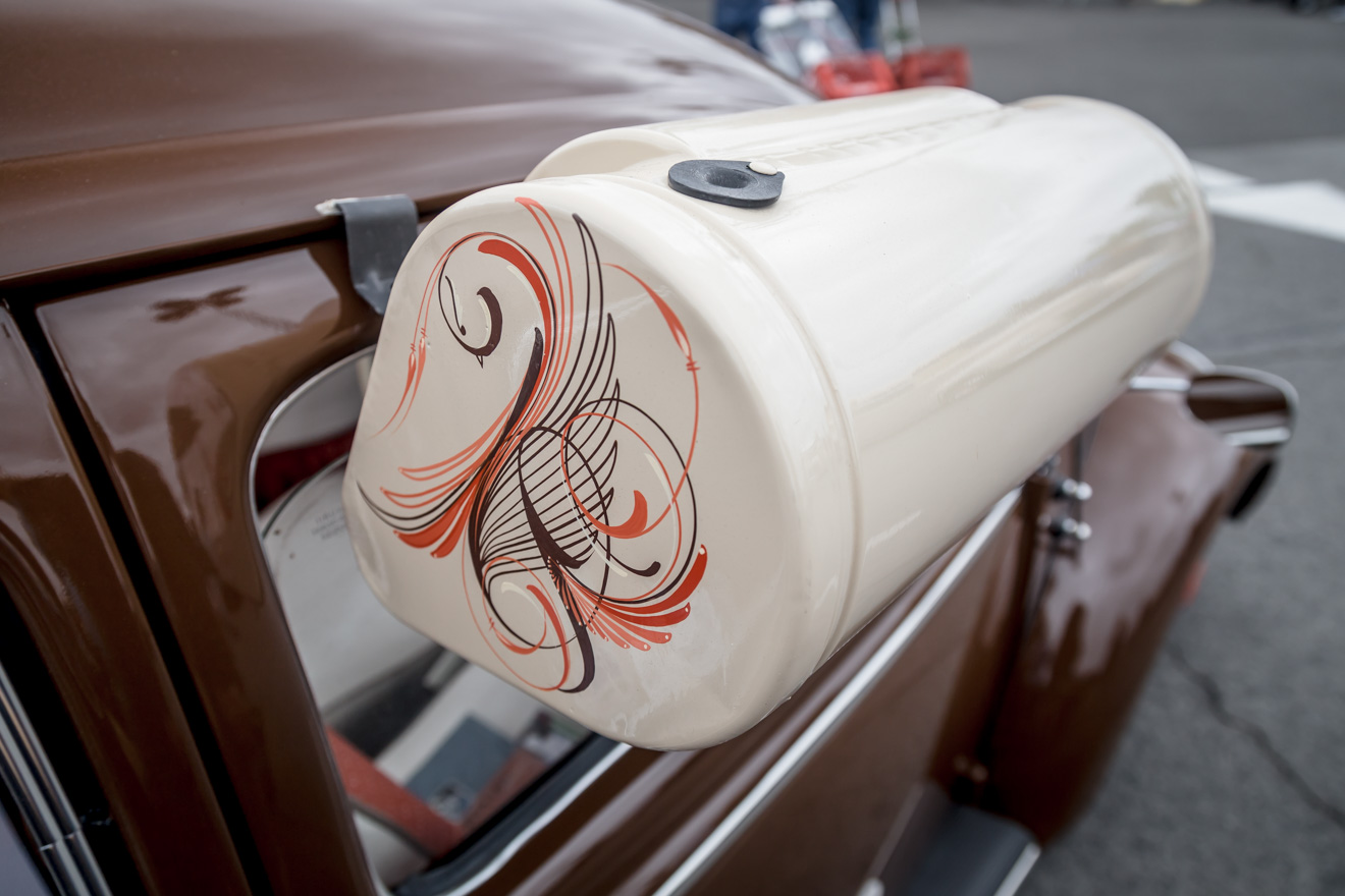 Ppinstriped swamp cooler on 1957 VW