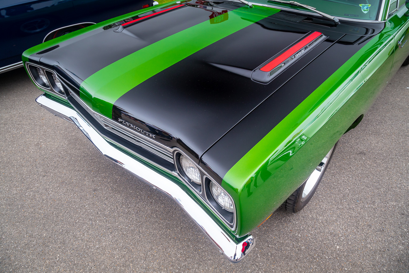 Front view of green and black Plymouth Road Runner