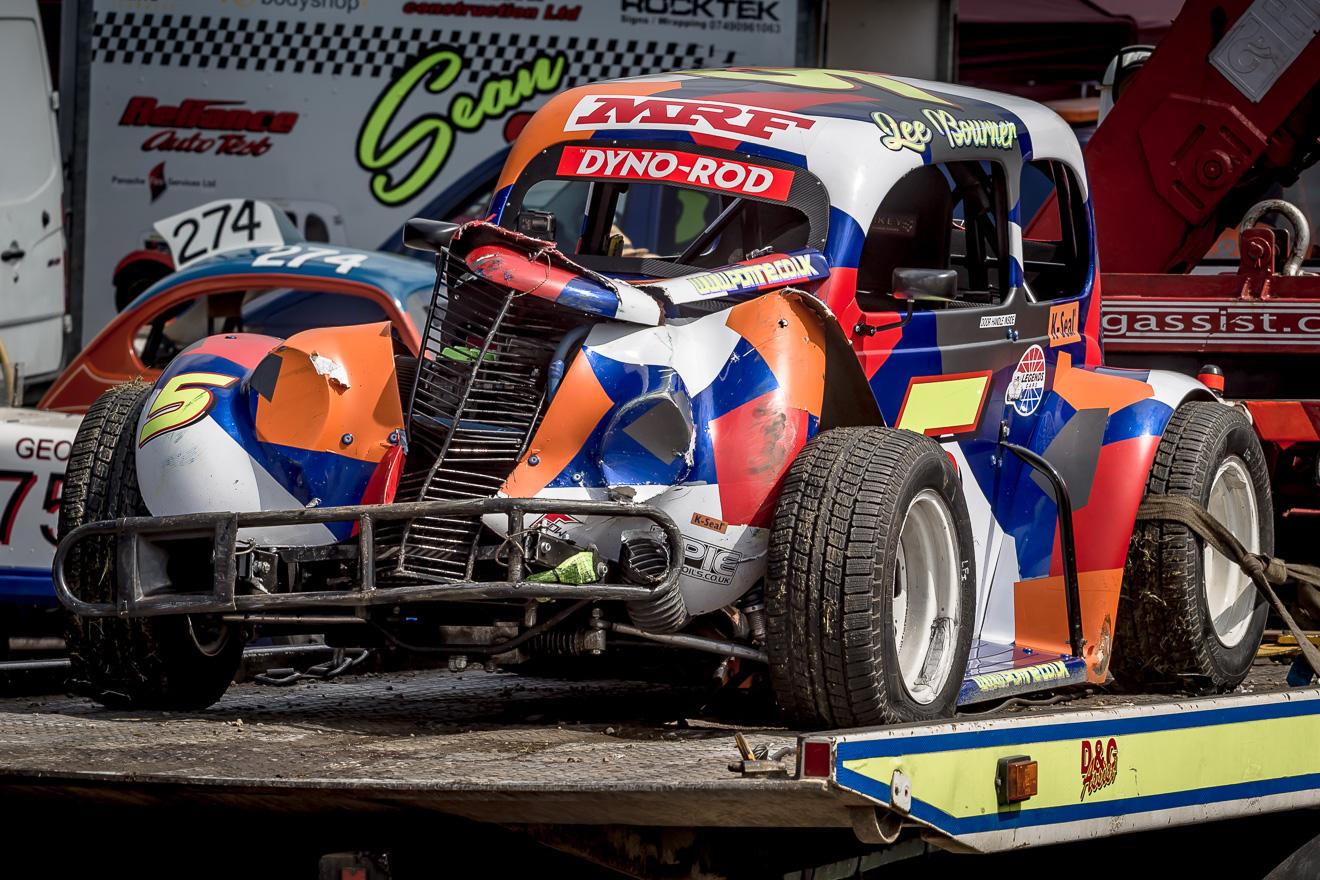 Wrecked legend race car